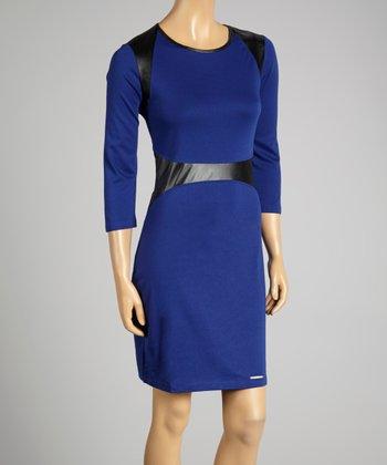 Coco & tashi Blue & Black Color Block Dress