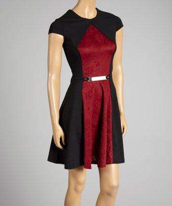 Coco & tashi Burgundy & Black Color Block Cap-Sleeve Dress