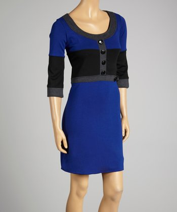 Coco & tashi Cobalt Color Block Scoop Neck Dress