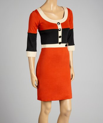 Coco & tashi Orange Color Block Scoop Neck Dress