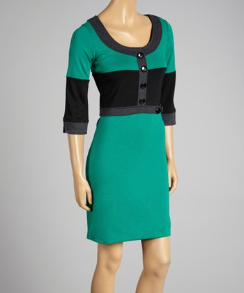 Coco & tashi Emerald Color Block Scoop Neck Dress