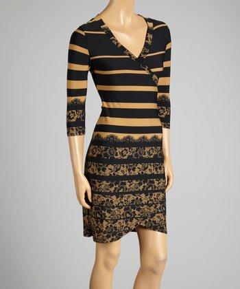 Coco & tashi Taupe Stripe V-Neck Dress