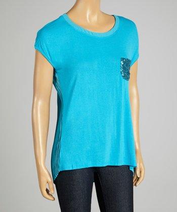Coco & tashi Turquoise Sequin Pocket Sheer-Back Tee