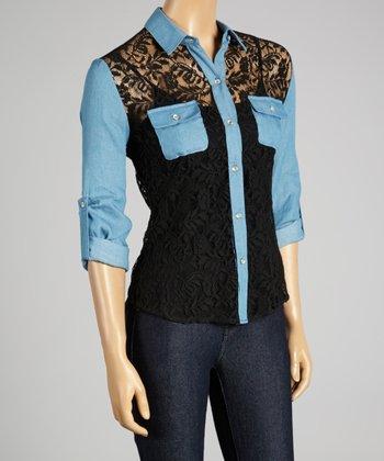 Coco & tashi Black & Blue Color Block Lace Button-Up