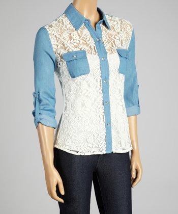 Coco & tashi White & Blue Color Block Lace Button-Up