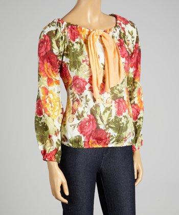 Coco & tashi Red Floral Silk-Blend Top