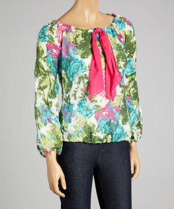 Coco & tashi Fuchsia Floral Silk-Blend Top