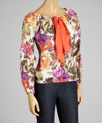 Coco & tashi Orange Floral Silk-Blend Top