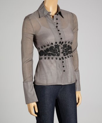 Coco & tashi Taupe Embroidered Button-Up