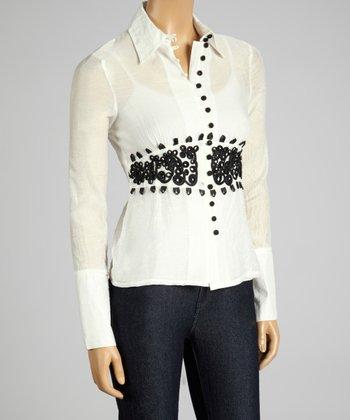 Coco & tashi White Embroidered Button-Up