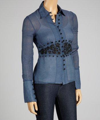 Coco & tashi Slate Blue Embroidered Button-Up