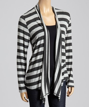 Gray & Black Stripe Open Cardigan