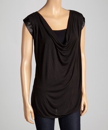 Black Iridescent Drape Neck Top - Women & Plus