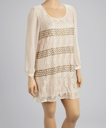 Light Pink Studded Lace Dress - Women & Plus