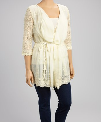 Ivory Crocheted Tie-Front Cardigan - Women & Plus