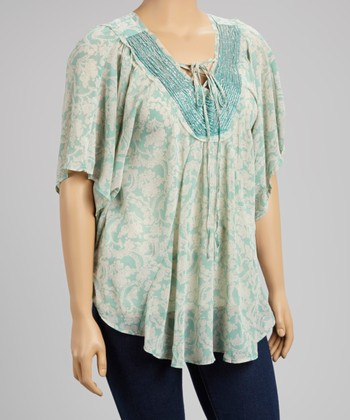 Mint Sheer Tie-Front Top - Women & Plus