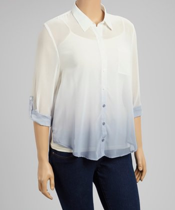 White & Blue Ombré Hi-Low Button-Up - Women & Plus