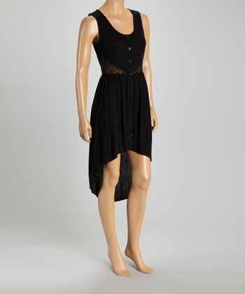 Black Lace-Accent Hi-Low Dress - Women