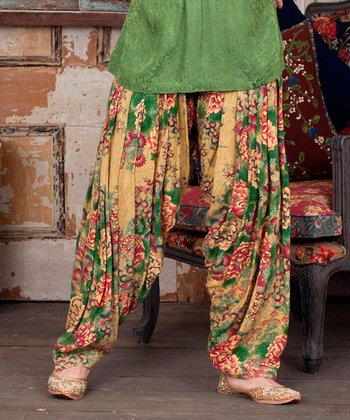 Gold China Floral Harem Pants