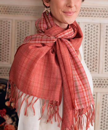 Rust Plaid Wool Scarf
