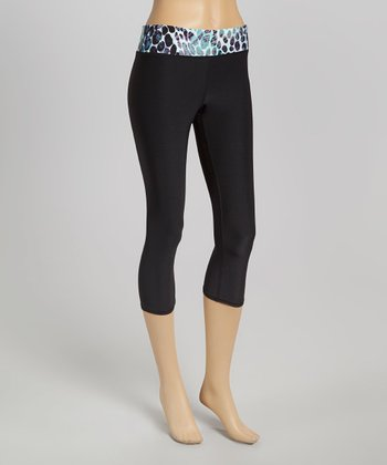 Black Cheetah Capri Leggings