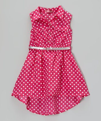 Tropical Fuchsia Polka Dot Sleeveless Dress - Toddler & Girls