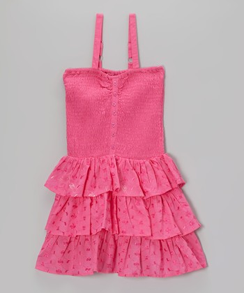 Stolen Pink Shirred Tiered Ruffle Dress - Toddler & Girls
