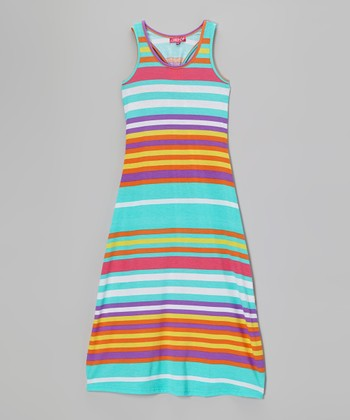Mint Beam & Vermillion Stripe Maxi Dress - Girls