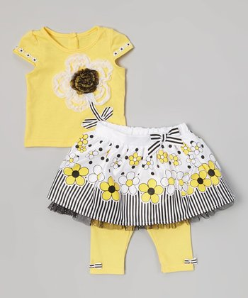 Yellow Daisy Top & White Floral Skirted Leggings - Infant