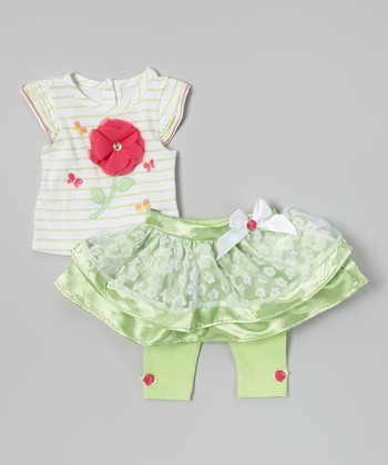 White Stripe Poppy Top & Green Lace Skirted Leggings - Infant