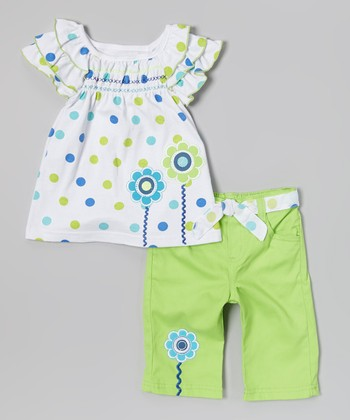 White Polka Dot Top & Green Pants - Infant, Toddler & Girls