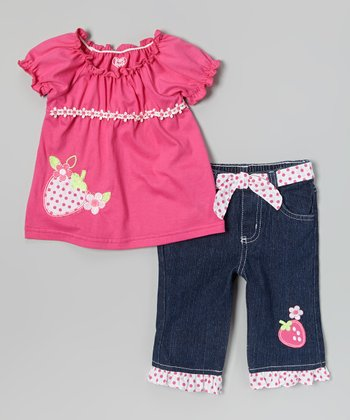 Pink Strawberry Peasant Top & Jeans - Infant & Girls