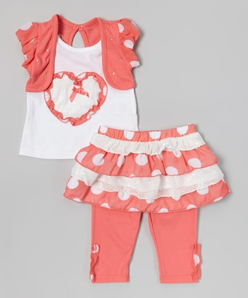Orange Ruffle Heart Tank Set - Infant, Toddler & Girls