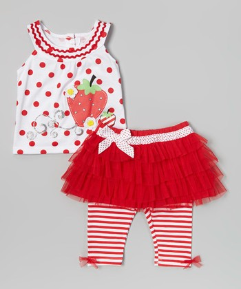 Red Polka Dot Top & Skirted Leggings - Infant, Toddler & Girls