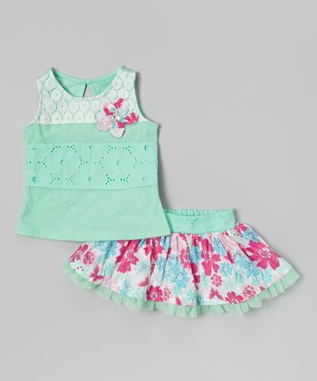 Green Lace Tank & Floral Skirt - Infant