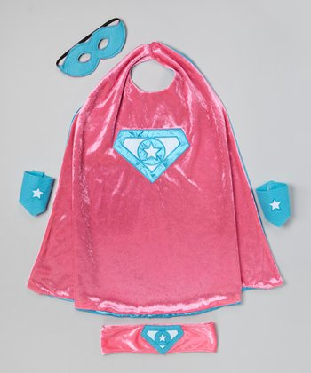 Pink & Turquoise Super Girl Reversible Cape
