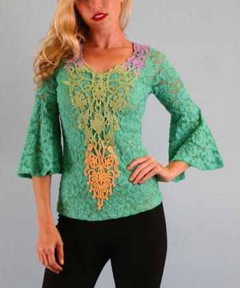 Green Kylie Crocheted Embellished Top