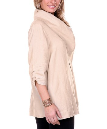 Beige Drape Collar Linen Jacket - Women & Plus