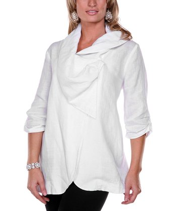 White Drape Collar Linen Jacket - Women & Plus