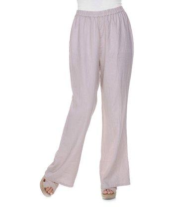 Beige Flared Linen Pants - Women & Plus