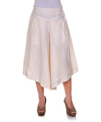 Cream Linen Gaucho Pants - Women & Plus