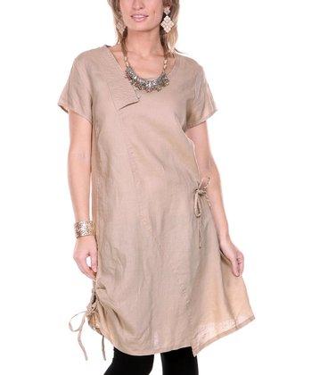 Beige Drawstring Linen Tunic - Women & Plus