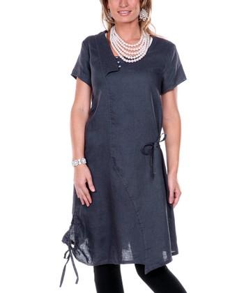 Navy Drawstring Linen Tunic - Women & Plus