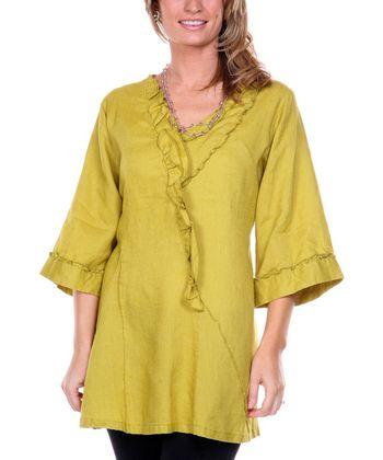 Olive Asymmetrical Ruffle Linen Tunic - Women & Plus