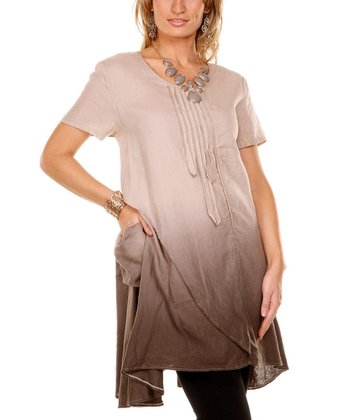 Brown & Beige Ombre Linen Tunic - Women & Plus