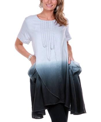Black & Gray Ombre Linen Tunic - Women & Plus