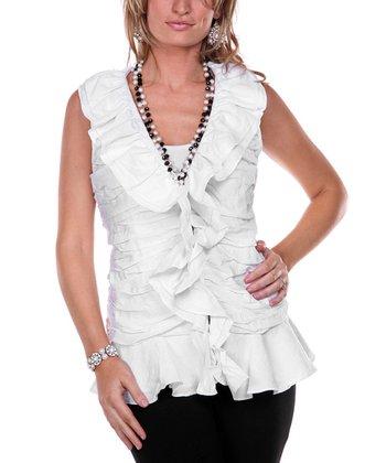White Ruffle Linen V-Neck Top - Women & Plus