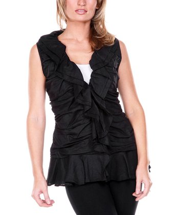 Black Ruffle Linen V-Neck Top - Women & Plus
