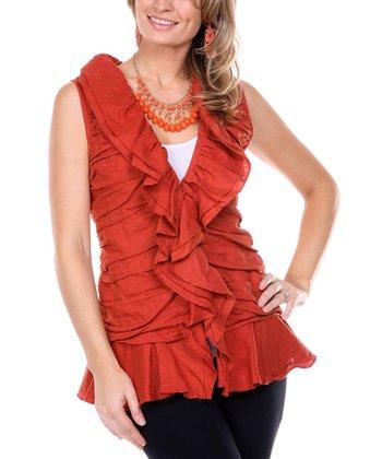 Rust Ruffle Linen V-Neck Top - Women & Plus