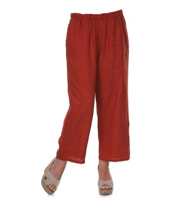 Rust Linen Capri Pants - Women & Plus